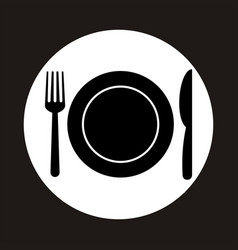 kitchen icon of dish fork and knife vector image