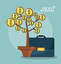Colorful poster of profit plant with leaves in vector