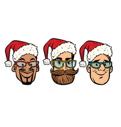Head santa claus multi-ethnic group vector