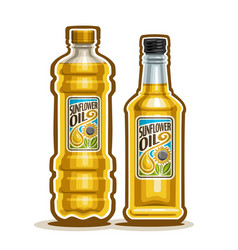 2 yellow bottles with sunflower oil vector