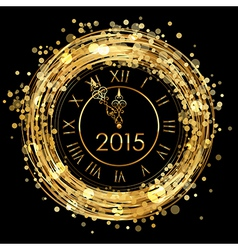 2015 - shiny New Year Clock vector image