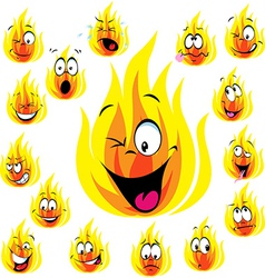 fire cartoon with many expressions vector image
