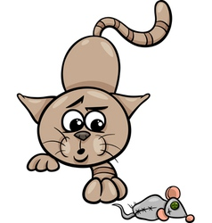 cat with toy mouse cartoon vector image