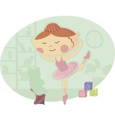 Little ballerina in pink tutu dress vector