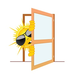 Sun and the door vector
