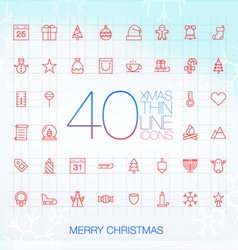 40 trendy thin merry christmas icons vector