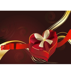 Brown background with heart shaped box2 vector