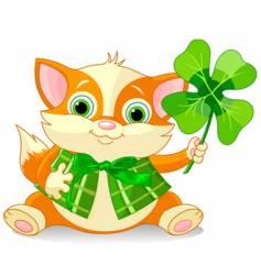clover kitten vector image
