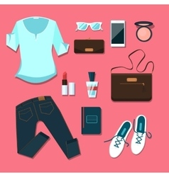 Young woman clothes and accessories outfit vector