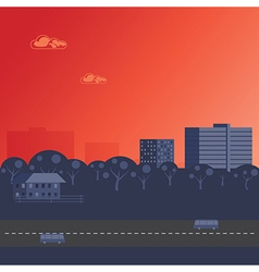 Sunset over city vector