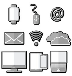 Technology icons 1 with shadow element vector