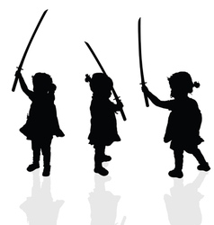 Child silhouette with samurai sword vector