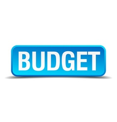 Budget blue 3d realistic square isolated button vector