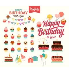 Happy birthday icon set vector