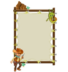 A cowboy infront of an empty framed banner vector image