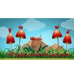 Ants in the mushroom garden vector