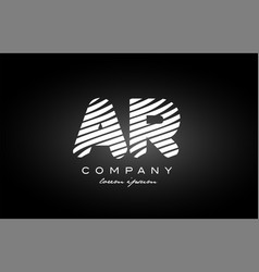 Ar a r letter alphabet logo black white icon vector