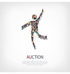 Auction people sign 3d vector