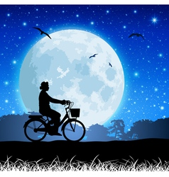bicycle and moon vector image vector image