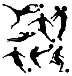 Black silhouette of soccer player in different vector
