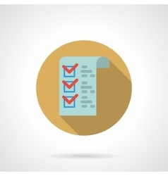 Checklist button flat color design icon vector image