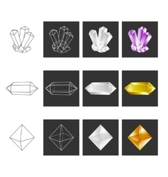 Crystal geometry shape set colored crystals in vector