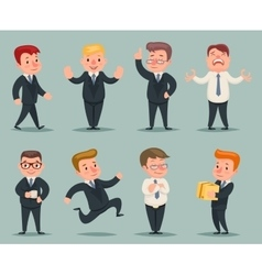 Different positions and actions businessman vector