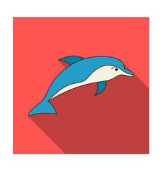 dolphin icon in flat style isolated on white vector image vector image