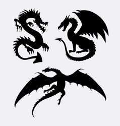 dragon fantasy monster design silhouette vector image vector image