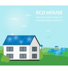 Eco house banner Sun energy generation vector image