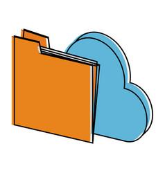 file folder cloud storage icon image vector image