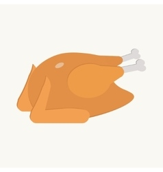 Fried turkey on the white background flat vector image vector image