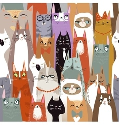 Funny cartoon seamless cats pattern vector image vector image