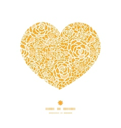 Golden lace roses heart silhouette pattern frame vector