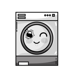 Grayscale kawaii cute funny washing machine vector