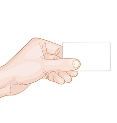 hand holding a blank card vector image vector image