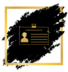 Identification card sign golden icon at vector