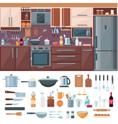 kitchen interior elements set vector image
