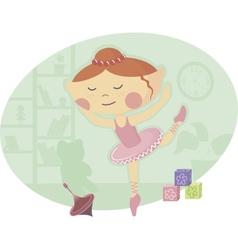 Little Ballerina in Pink Tutu Dress vector image