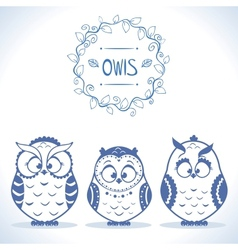 Owls cute vector