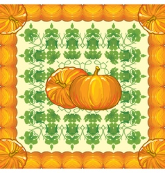 Pattern of ripe pumpkins with leaves vector