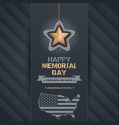 poster for memorial day with map of the usa vector image