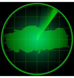 Radar screen with the silhouette of Turkey vector image