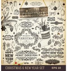Retro Christmas Icon Set vector image vector image