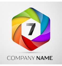 Seven number colorful logo in the hexagonal on vector