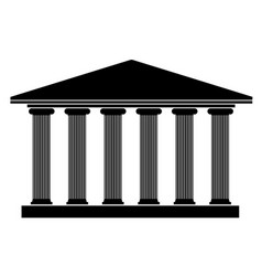 silhouette an ancient building in the greek style vector image vector image