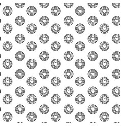 Silhouette pattern coins with heart symbol inside vector