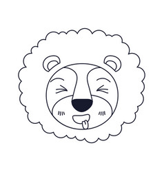 Sketch silhouette caricature face of lion sticking vector