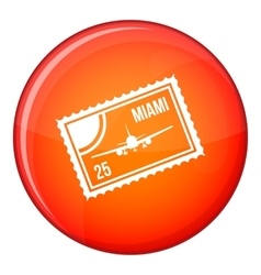 Stamp with plane and text miami inside icon vector