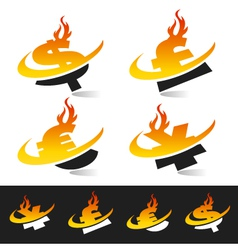 Swoosh Flame Currency Logo Symbols vector image vector image